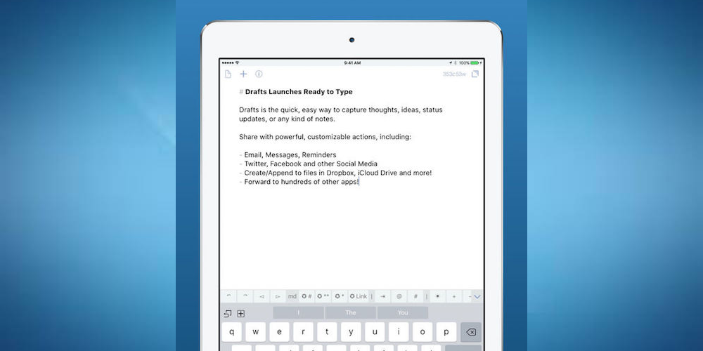 Drafts - Best iPad Apps For Taking Notes