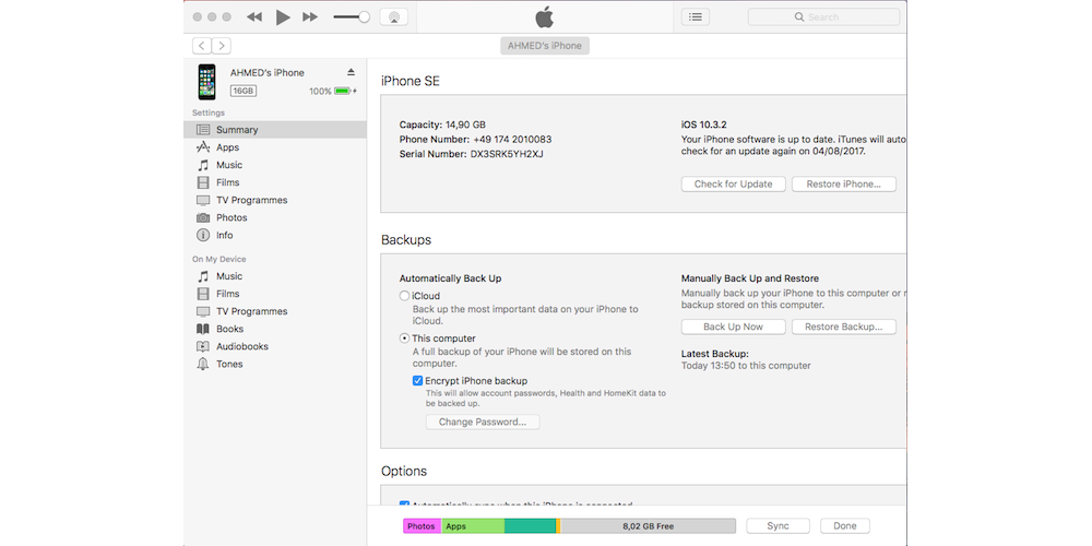 Enabling iTunes Backups On Your iPhone/iPad