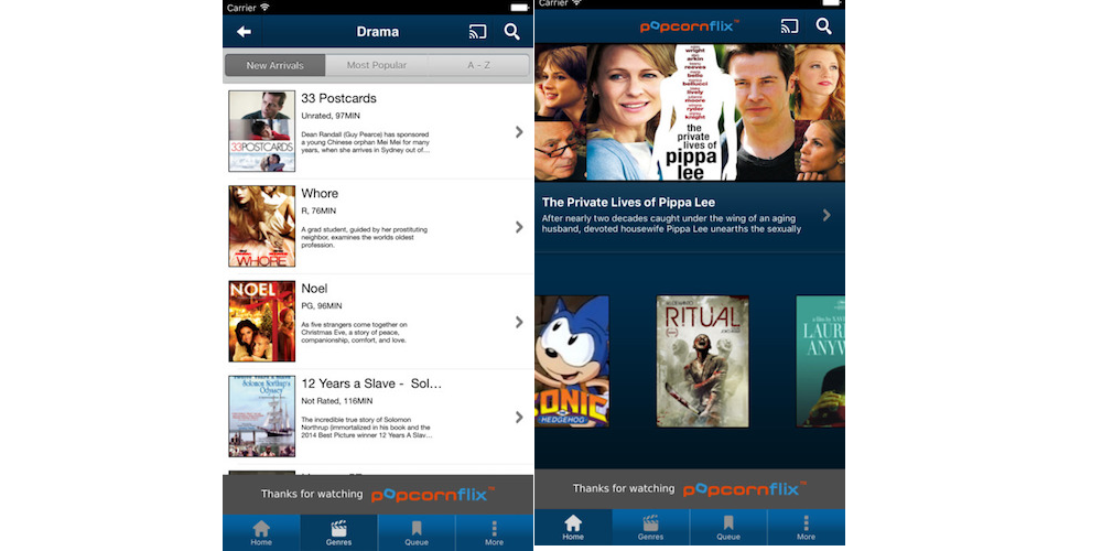 Popcorn Flix-10 Best iPhone Apps For Free Movies
