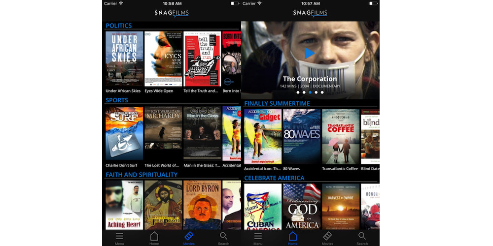 Snag Films-10 Best iPhone Apps For Free Movies