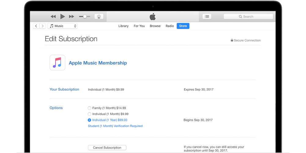 Changing Subscription On PC or Mac-How To Manage Apple Music Membership