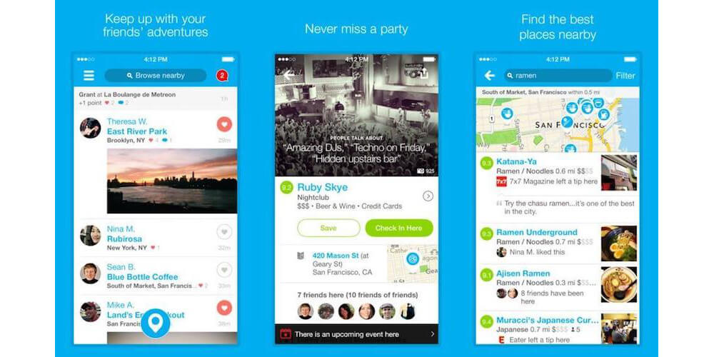 Foursquare-Best iPhone Apps To Meet New People In 2018